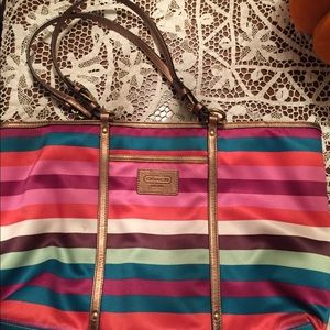 COACH Legacy Stripe Shoulder Bag Tote Purse